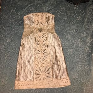 Cream Sue Wong beaded cocktail dress