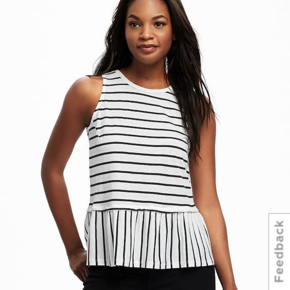 d9bd04c5bb7121 Black and white striped peplum top. M_59137e119818292a1a0023c5