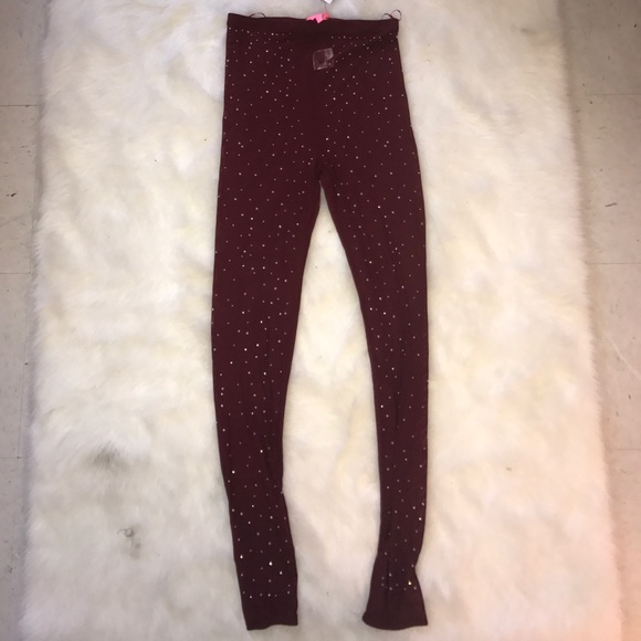 Xtaren Pants - Sequin Sheer Burgundy Leggings