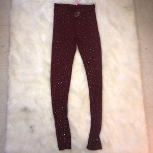 Xtaren Pants - Sequin Sheer Burgundy Leggings