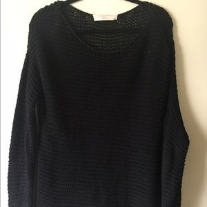 Zara Asymetrical Shoulder Black Cable Knit Sweater