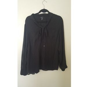 Striped sheer chiffon shirt with a tie