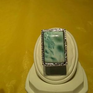 NWT Sterling silver larimar a cubic zirconia ring