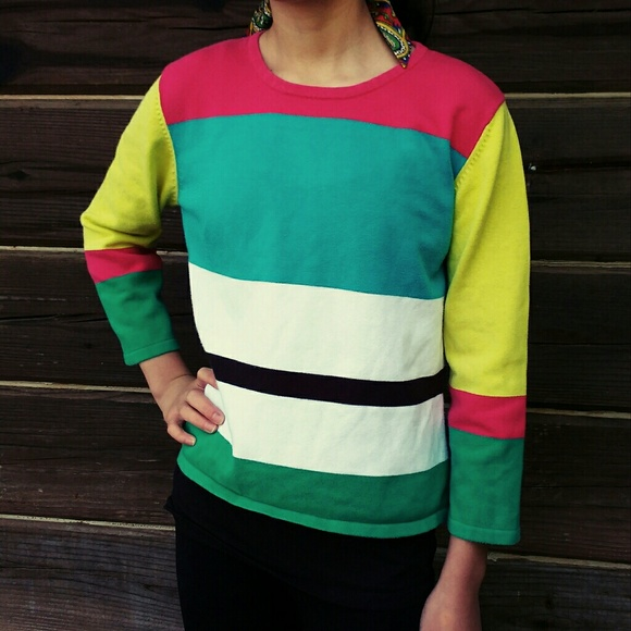 Mia Nola Sweaters - Vintage 80s Geometric Block Color Sweater