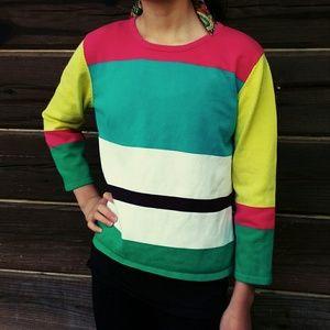 Mia Nola Sweaters - Vintage 80s Geometric Block Color Sweater