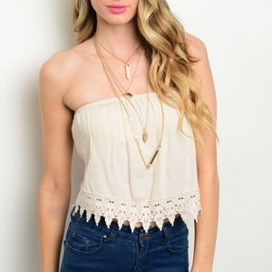 WILA Tops - • boho top • strapless crochet •
