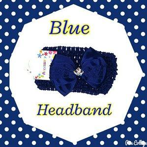 Other - NWT- Navy Blue Crochet Headband with Bow