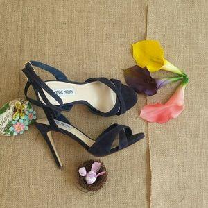 Steve Madden Shoes - Steve Madden Blue Suede Xandy Stiletto Sandal Heel