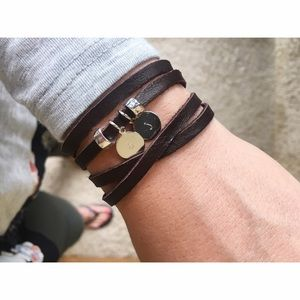 Jewelry - Handmade hand stamped leather initial bracelet