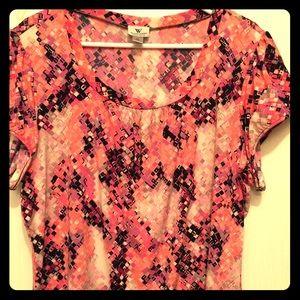 Shortsleeve bright silky dress top 2X but fits XL