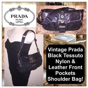 Prada Handbags - VTG Prada Black Tessuto Nylon Front Pockets Bag!