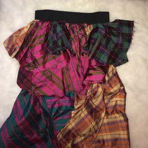 Skirts - Plaid High Low Maxi Skirt