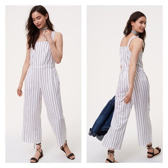 755777ed773 NWT LOFT Striped Apron Jumpsuit