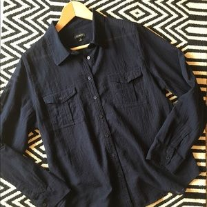 Talbots Tops - Talbots blue long sleeve button down shirt, sheer.