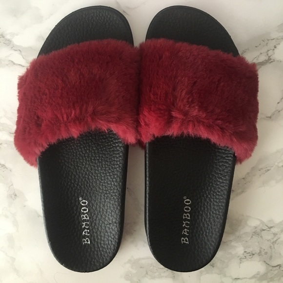 Bamboo Shoes - Burgundy Furry Slides