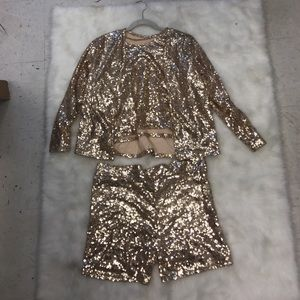 Sequin Gold Blazer Set