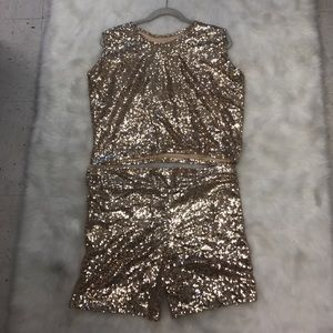 Tops - Sequin Gold Blazer Set