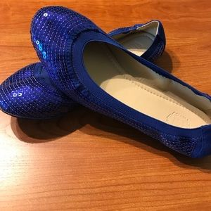 Ollio Shoes - Royal Blue Sequined Ballerina Flats! NWOB