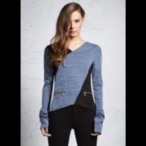 Astars Tops - Long sleeve color block shirt with zipper detail.