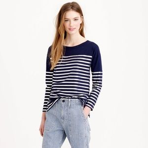 J. Crew Navy and Metallic Striped Tee