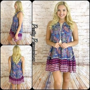 Pretty Persuasions Dresses & Skirts - NWT Mixed Print Paisley Tassel Tie Shift Dress