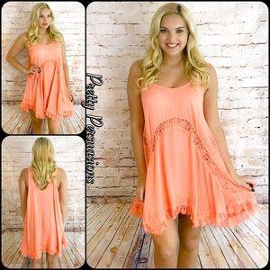 Pretty Persuasions Dresses & Skirts - NWT Peach She Swings Cross Back & Lace Slip Dress
