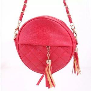 Handbags - Round red vegan leather Crossbody Handbag NEW