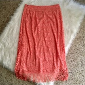 Dresses & Skirts - Coral Lace Overlay Maxi Skirt with Fringe - Sz 14