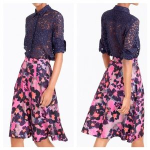 Jcrew Collection Watercolor Silk Floral Skirt