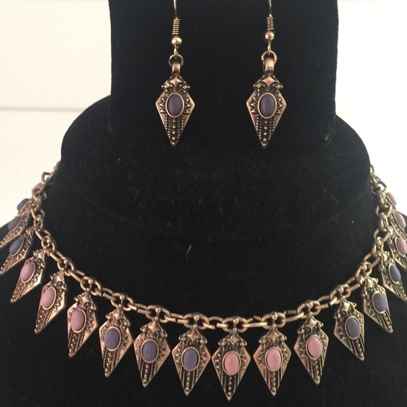 Grey pink choker chain necklace matching earrings OS from ...