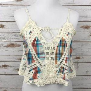 Free People Tops - Cute free people plaid crochet crop top!