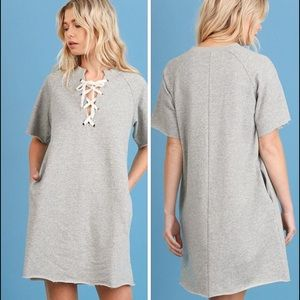 Heather Grey lace up dress with pockets