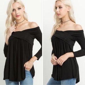 Crisscross off the shoulder black top.
