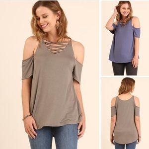 Crisscross open Shoulder Top. Lace up top.