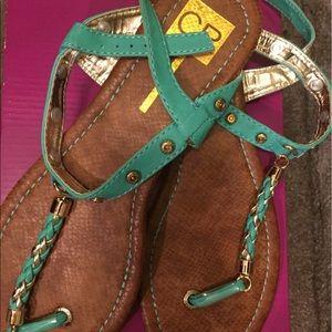 Cape Robbin Shoes - Turquoise sandals, size 8.