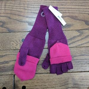 Aqua Fingerless Gloves with Foldover Flap