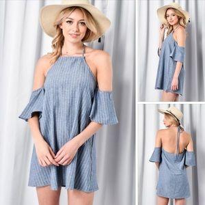 Denim Stripe Dress with Cold Shoulders Halter top
