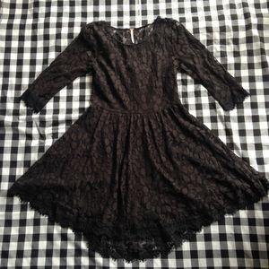 Free People black sheer short lace dress sleeves 6