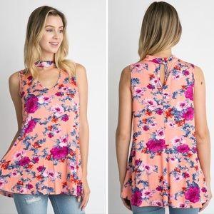 Peach Floral Choker tank top