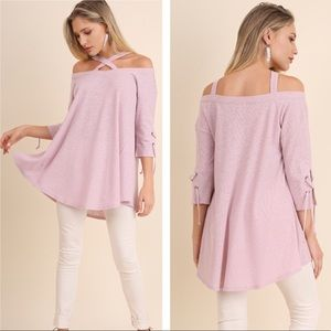 Crisscross Tunic with lace up sleeve detail
