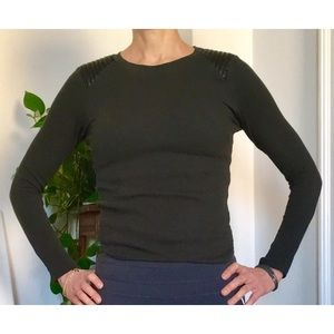 Zara Knit Top with Faux Leather Shoulder Detail