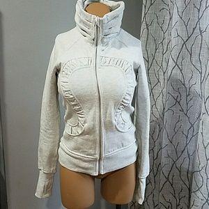 lululemon athletica Sweaters - Lululemon Cuddle Up Jacket Heathered White 4