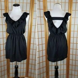 Forever 21 black ruffle neck mini dress