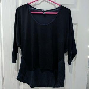 Aqua Black/Navy High Low T-Shirt 3/4 Sleeves