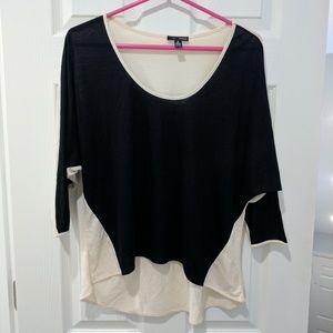Aqua Black/Cream High Low T-Shirt 3/4 Sleeves