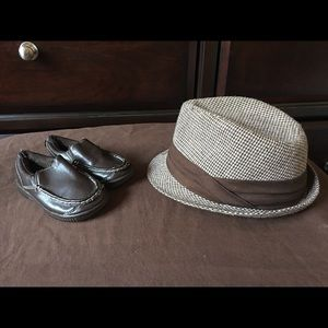 Children's Place Other - Boys Toddler Size 7 Brown Dress Shoes & Fedora Hat