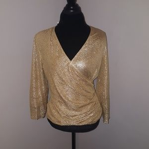 MSK Tops - NWT MSK Ruched side gold top