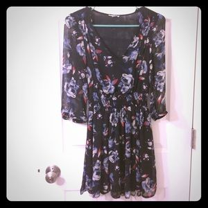 Urban Outfitters lined black floral tunic dress