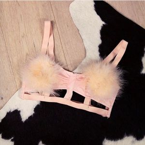 df5045c2342c7 Nasty Gal Tops - Pink Fluffy Bralette from Nasty Gal
