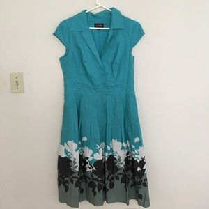 Adrianna Papell Dresses & Skirts - Collared Teal Flower Dress